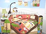 SoHo 1234 Jungle Friends Baby Crib Nursery Bedding Set 13 pcs included Diaper Bag with Changing Pad & Bottle Case