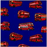 Fat Quarter London Buses Bus on Royal Blue Cotton Quilting Fabric - Nutex