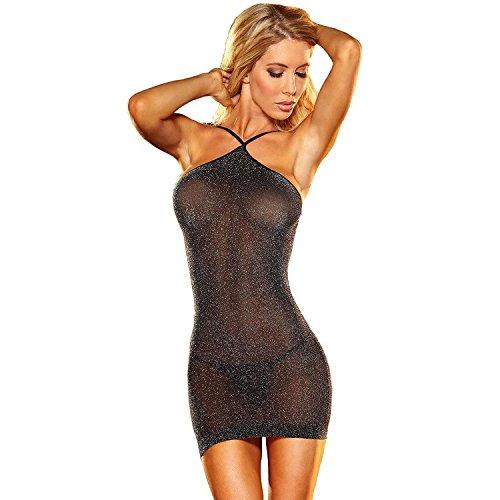 SAMGU Halter Sleepwear Nightwear Reizwäsche Sexy Damen Unterwäsche G-String Farbe Schwarz