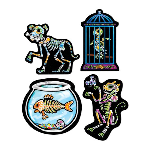 Day Of The Dead Pet Cutouts   (4/Pkg)