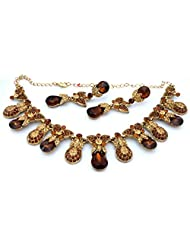 Mychamakbangles Fashion Jewellery Gold Tone Brown & Gold Austrian Crystal Wedding Party Necklace Set With Earrings...