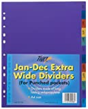 Tiger Extra Wide A4 Dividers Jan-Dec Index Assorted Pack 1 Ref 301566