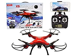 Syma X5SW Plus 2.4G 4CH 6-Axis Gyro RC Headless Quadcopter Drone with WiFi FPV Camera (Red)