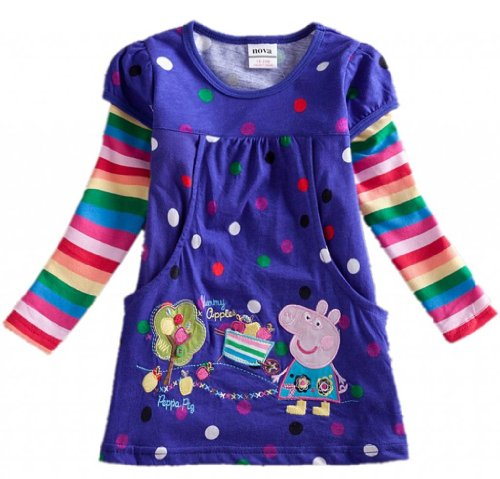 Baby Girls Long Sleeve Tops Tees Cotton,Purple,3Y front-121167