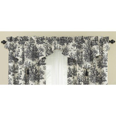 Waverly Country Life 52-Inch by 20-Inch Window Valance, Black (Toile Kitchen Curtains compare prices)