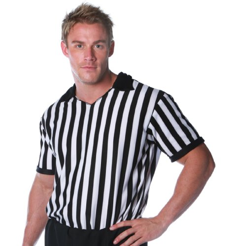 Lets Party By Underwraps Referee Shirt Adult Costume / Black & Tan - Size X-Large