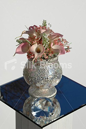 Superbe pink-peach Calla Lily & Gypsophila mosaïque de table