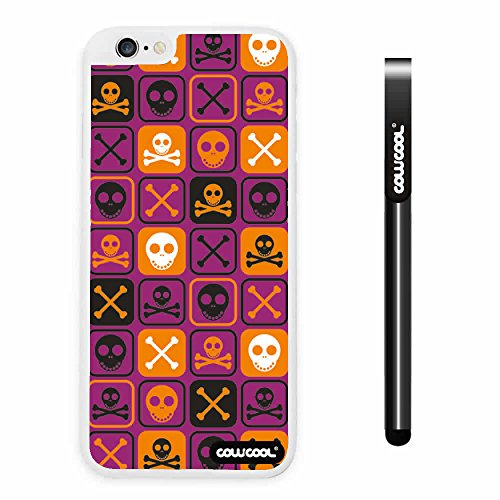 CowCool® Apple Iphone 6 Plus 5.5 Inch Case Hard PC Cross matrix cute Skull With White Shell Single Layer Protective Case (Purple)