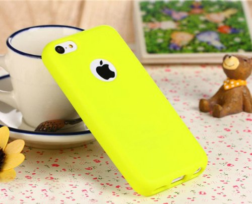 Topideal Full Scratch Protection Case - Crystal Clear front protector + Slim TPU Back Shell Cover Skin for Apple iphone 5C (2013) + Free Earphone Winder ,Yellow