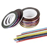 BMC Mixed Color Nail Art Decoration Tape Sticker Holograph Decal Strips Wheel + 1 mm Bead Chains Set