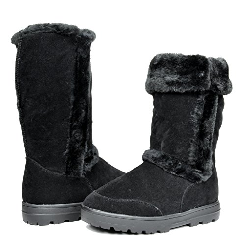 Women's Winter Snow Fur Lining Slip on Casual Fashion Cold Weather Boots
