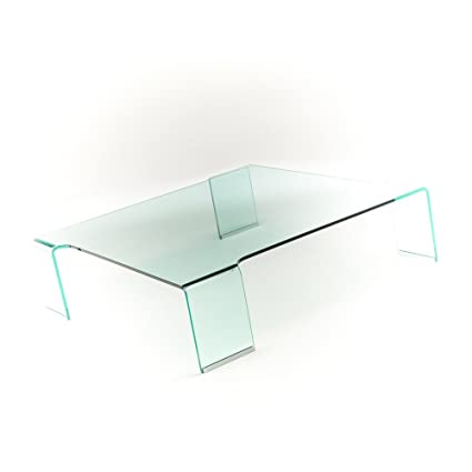 Curved glass coffee table Detroit 100% made in Italy - square, living room, hall