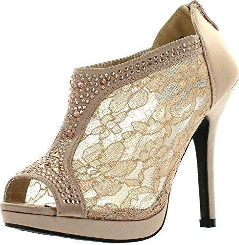TRENDS SNJ Women's Lace Bridal High Heel Platform Peep Toe Shootie