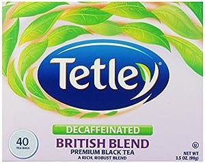 Tetley British Blend Naturally Decaffeinated Premium Black Tea, 40-Count Tea Bags (Pack of 6)