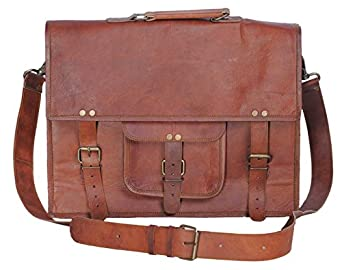 Komal's Passion Leather 14 Inch Mens Vintage Look Leather Messenger Briefcase Laptop Satchel Mens Bag