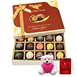 Valentine Chocholik Premium Gifts - Colorful Truffles Collection With Teddy And Love Card
