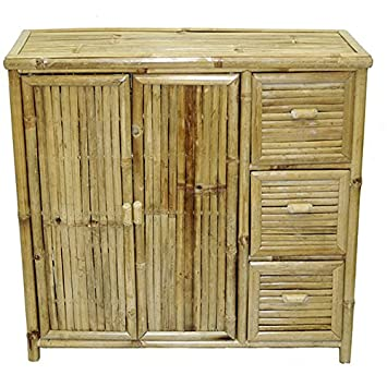 Natural Bamboo 3 Drawer Chest, Handcrafted in Vietnam