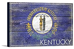 Kentucky State Flag - Barnwood Painting (18x12 Gallery Wrapped Stretched Canvas)