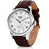 Aposon Quartz Metal and Leather Watch, Color:Brown (Model: AP-9058CL-Brown)