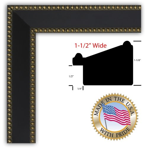 8x10 / 8 x 10 Black w/ Gold Beads Custom Picture Frame - Brand NEW .. 1.5'' wide