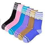 TeeHee Womens Ladies Value 6-Pack Crew Socks, Argyle, Nordic, Stripe, Flower