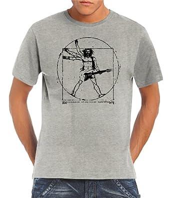 Touchlines Herren T-Shirt Da Vinci Rock Guitar, Ash, S, B210513TS