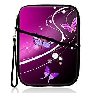 "Neoprene Super Padded Bubble Sleeve Case Cover with Extra Pocket for Accessories & Removable Carrying Handle Fits Apple iPad Mini / Amazon Kindle Fire HD / Google Nexus 7 / Samsung Galaxy / Asus / Acer / Archos and Similar Size 7"" Tablet - Pink Butterfly"