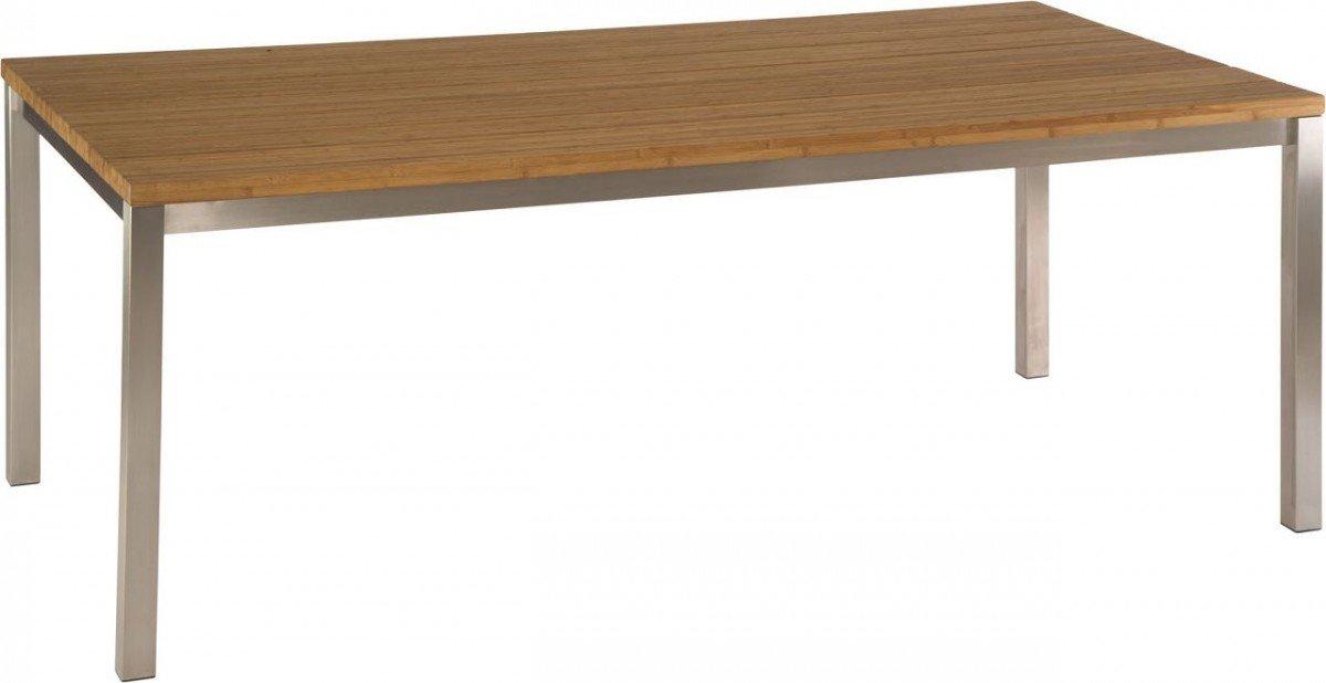 Dreams4Home Gartentisch 'Hetty' – Tisch, Gartentisch, Esstisch, Balkonmöbel, Gartenmöbel, Terrassenmöbel, Bambustischplatte, B/H/T: 160 x 75 x 90 cm, mit Edelstahlgestell, in edelstahl/bambus kaufen