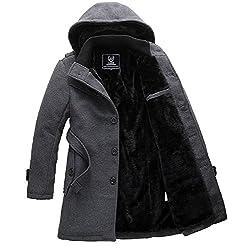 Spinas(スピナス) メンズ 冬 コート 裏ボア ベルベット 防寒 フード 取り外し ビジネス カジュアル 全2色 ダークグレー ブラック (M, ダークグレー)