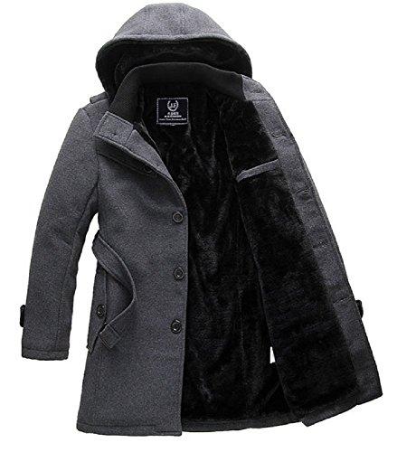 Spinas(スピナス) メンズ 冬 コート 裏ボア ベルベット 防寒 フード 取り外し ビジネス カジュアル 全2色 ダークグレー ブラック (L, ダークグレー)