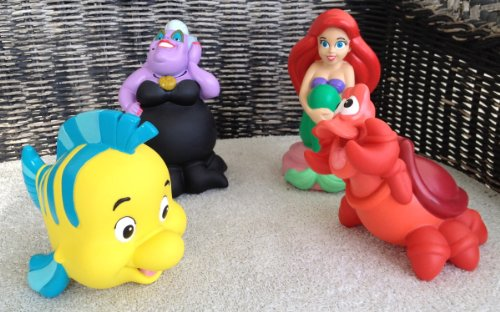 Disney Park Little Mermaid Ariel Ursula Flounder Sebastian Pool Bath Toy Set NEW
