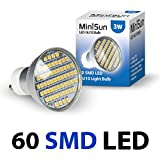 MiniSun Branded 3W Super Bright GU10 LED Bulb with 60 x 3527 SMD LEDs - 420 Lumens - Warm White