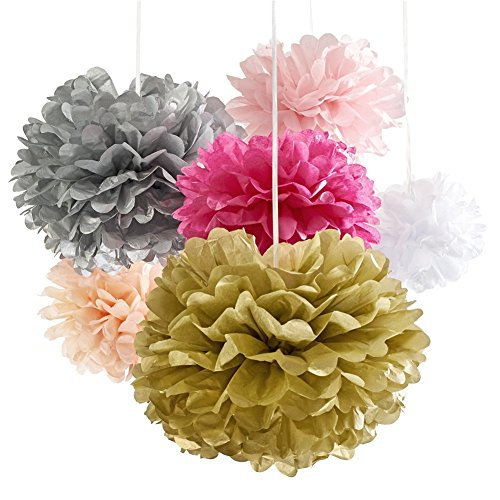 papier pom poms 18 premium pom pom set seidenpapier blumen pompoms papierblumen f r rosa. Black Bedroom Furniture Sets. Home Design Ideas