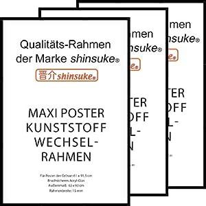 Empire Merchandising 623973 Kunststoff Maxi Poster Qualitäts-Wechselrahmen der Marke Shinsuke 3-er Set, 61 x 91.5 cm, schwarz
