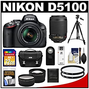 Nikon D5100 Digital SLR Camera & 18-55mm G VR DX AF-S Zoom Lens with 55-200mm VR Lens + 32GB Card + .45x Wide Angle & 2.5x Telephoto Lenses + Remote + (2) Filters + Tripod + Accessory Kit