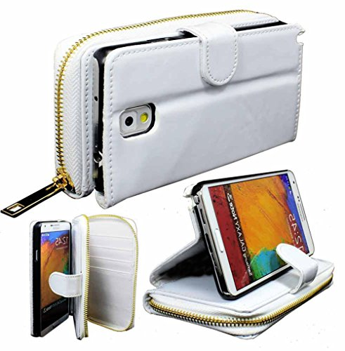 Images for myLife Florescent White {Modern Design} Faux Leather (Card, Cash and ID Holder + Magnetic Closing) Slim Wallet for Galaxy Note 3 Smartphone by Samsung (External Textured Synthetic Leather with Magnetic Clip + Internal Secure Snap In Closure Hard Rubberized Bumper Holder)