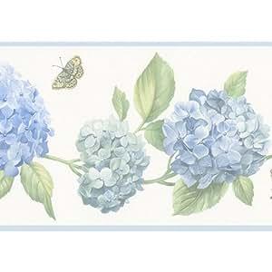 Hydrangea and Butterfly Wallpaper Border - - Amazon.com