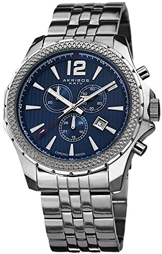 Akribos-XXIV-Mens-AK662BU-Ultimate-Swiss-Quartz-Chronograph-Blue-Dial-Stainless-Steel-Bracelet-Watch