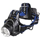 WindFire® 1800 Lumens CREE XM-L T6 U2 LED Waterproof 3 Modes Design Zoomable Rotating Headlamp CREE LED Headlight 18650 Rechargeable Battery Head LED Torch Flashlight with Charger and 2 x WindFire 4000mAh Rechargeable Batteries Portable LED Headlamp for For Outdoor Hiking, Riding, Camping and Other Activities(2Pcs WindFire 18650 Battery included)