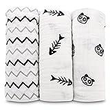 Truedays Pack de 3 Mantas de Muselina de Algod�n Pa�os de Muselina Para Beb�s Calidad Pa�o Para Beb�s Reci�n Nacidos Muselina Toalla (120 x 120 cm)