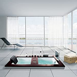 eago am192et design whirlpool baignoire encastrable avec 9 hydrojets 6 jets au sol et 6 modes. Black Bedroom Furniture Sets. Home Design Ideas
