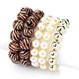 5 Piece Bead Fashion Bracelet Set Brown & Gold