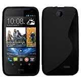 Samrick 'S' Wave Hydro Gel Protective Case, Screen Protector, Microfibre Cloth for HTC Desire 310 - Black