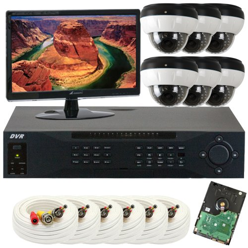 Gw Security Inc 6Che7 8 Channel H.264 960H/Fd1 Dvr With 6 X Water Proof 1/3 Inches Sony Ccd 700 Tvl 2.8~12Mm Lens Security Camera System, Free Led Monitor (Black/White)