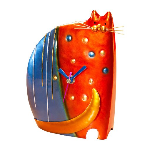 Deco Flair Cat Figurine Desk Clock