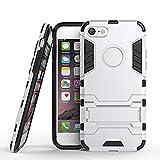 Silver MarsTech iPhone7 ケース ハイブリッド アーマー ケース カバ 2層構造 グレー Silver アイフォン