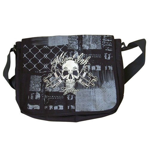 Miami Ink - Skull & Cross Black Messenger Bag - Black - 33 x 40 x 8