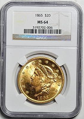 1865 Liberty Head Twenty Dollar MS64 NGC