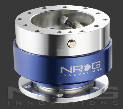 NRG INNOVATIONS STEERING WHEEL QUICK RELEASE KIT GEN 1.0 - SILVER BODY / BLUE RING (SRK-100B)