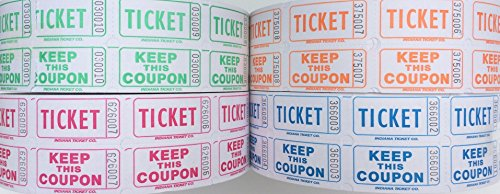 Raffle Tickets - (4 Rolls of 2000 Double Tickets) 8,000 Total 50/50 Raffle Tickets (Lime/Blueberry/Tangerine/Raspberry) (White 50 50 Tickets compare prices)
